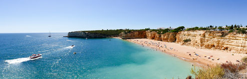 Beautiful beach Praia Nova in Portugal, Algarve - Panorama Picture Royalty Free Stock Image