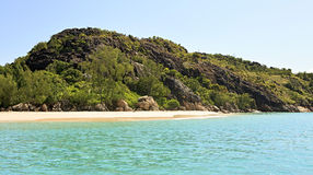 Beautiful beach on Praslin Island in Indian Ocean Royalty Free Stock Photo