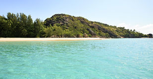 Beautiful beach on Praslin Island in Indian Ocean. Stock Images