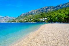 Beautiful beach punta rata in Brela, Croatia and adriatic sea, Dalmatia at summer royalty free stock photography
