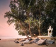 Beautiful beach with river at sunrise Thailand. Beautiful beach with river and colorful sky at sunrise or sunset, Thailand Stock Photo