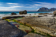Beautiful beach with rock and sand Royalty Free Stock Photography