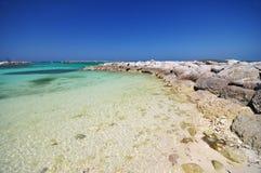 Beautiful beach and rocks. At bahamas royalty free stock photo