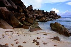 La Digue Island, Seychelles. Beautiful beach with rocks on La Digue Island, Seychelles. The photo is taken in October 2012 Royalty Free Stock Photos