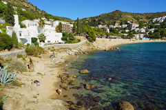 Beautiful beach with rocks and sand in Spain Royalty Free Stock Images