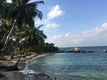 Beautiful beach Sai Nuan on Koh Tao. Tropical beach surrounding with palm trees in Thailand island of Koh Tao Stock Photo