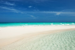 Beautiful beach with sandspit at Maldives Royalty Free Stock Image