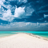 Beautiful beach with sandspit at Maldives Stock Images