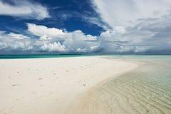 Beautiful beach with sandspit at Maldives Royalty Free Stock Photo