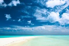 Beautiful beach with sandspit at Maldives Royalty Free Stock Photos
