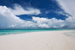 Beautiful beach with sandspit at Maldives Royalty Free Stock Photography