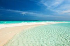 Beautiful beach with sandspit at Maldives Stock Photos