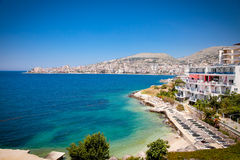 Beautiful beach in Saranda, Albania. Stock Photos