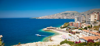 Beautiful beach in Saranda, Albania. Stock Photo