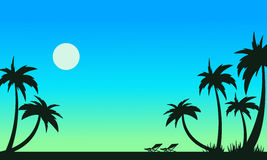 Beautiful beach scenery of silhouettes Royalty Free Stock Image