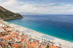 Beautiful beach in Scilla, southern Italy, Calabria region Stock Photos