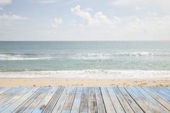 Beautiful beach sea and sky and tropical sea. Wood floor on beautiful beach sea and sky and tropical sea Stock Image