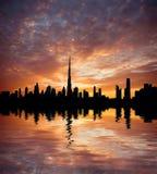 Beautiful beach and sea at sunset in Dubai Stock Photos