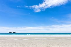 Beautiful beach of seascape. Sand and blue sky background Royalty Free Stock Image