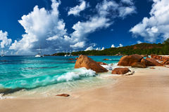 Beautiful beach at Seychelles Stock Images