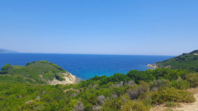 Beautiful beach on Skiathos island in Greece, windy summer day Stock Photography