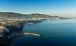 Beautiful beach in Sorrento Italy. Beautiful beach on the Sorrento coast opposite the island of Capri, one of the most beautiful places in the coast stock photography