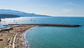 Beautiful beach in Sorrento Italy. Beautiful beach on the Sorrento coast opposite the island of Capri, one of the most beautiful places in the coast royalty free stock images