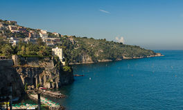 Beautiful beach in Sorrento Italy. Beautiful beach on the Sorrento coast opposite the island of Capri, one of the most beautiful places in the coast stock images