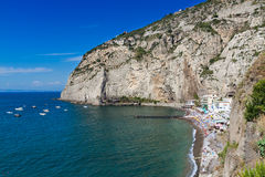 Beautiful beach in Sorrento Italy. Beautiful beach on the Sorrento coast opposite the island of Capri, one of the most beautiful places in the coast royalty free stock photography