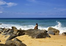 Beautiful beach south sea - amazing beach on a tropical island.  , a woman sitting on the beach Stock Image