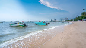 Beautiful beach,speedboat,white sand at Pattaya Beach the most famous beach in Thailand Royalty Free Stock Photography
