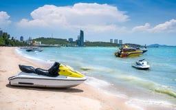 Beautiful beach,speedboat,white sand at Pattaya Beach ,Pattaya, Thailand. Beautiful beach,speedboat,white sand at Pattaya Beach the most famous beach in Thailand Stock Photo