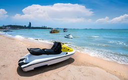 Beautiful beach,speedboat,white sand at Pattaya Beach ,Pattaya, Thailand. Beautiful beach,speedboat,white sand at Pattaya Beach the most famous beach in Thailand Royalty Free Stock Photo