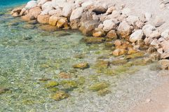 Beautiful beach with stones. Podgora, Croatia stock photography