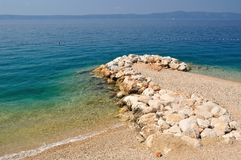 Beautiful beach with stones on Podgora, Croatia Stock Images