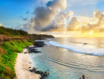 Beautiful beach at sunrise. Panorama Royalty Free Stock Photo