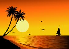 Beautiful beach sunset Royalty Free Stock Image