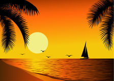 Beautiful beach sunset Stock Photo