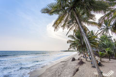 Beautiful beach at sunset in african paradise. Beautiful beach at sunset in Ghana, West Africa Royalty Free Stock Photography