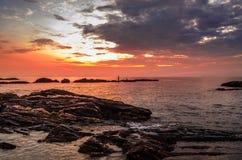 Beautiful beach sunset. Beautiful view of beach or seaside of Pantai Tanjung Jara, Dungun, Terengganu, Malaysia with sunrise or sunset scenery Royalty Free Stock Photography