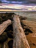 Beautiful beach sunset with cloudy sky Stock Photos
