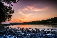 Beautiful beach during sunset in Rovinj, Croatia Stock Photo