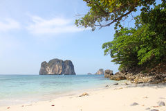 Beautiful beach in Thailand. View on beautiful beach, sea and limestone island in Thailand Stock Images