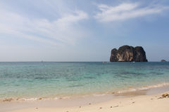 Beautiful beach in Thailand. View on beautiful beach, sea and limestone island in Thailand Royalty Free Stock Images
