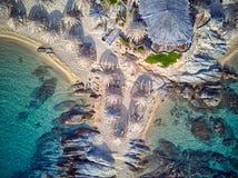 Beautiful beach top aerial view drone shot stock image