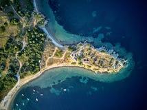 Beautiful beach top aerial view drone shot stock photo