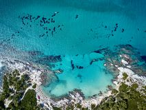 Beautiful beach top aerial view drone shot royalty free stock images