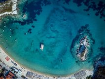 Beautiful beach top aerial view drone shot stock images