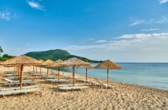 Beautiful beach in Toroni, Greece royalty free stock photography