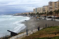 A beautiful beach in Torrox Costa, Spain Stock Photography